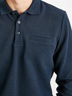 LC Waikiki Lacivert Polo Yaka Uzun Kollu Jakarlı Basic Tişört