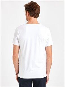 %94 Pamuk %6 Elastan Dar Düz Kısa Kol Tişört V yaka V Yaka Kısa Kollu Pamuklu Tişört