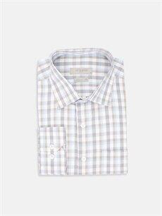 %55 Pamuk %45 Polyester Normal Ekoseli Uzun Kol Gömlek Düğmesiz Regular Fit Ekose Uzun Kollu Gömlek
