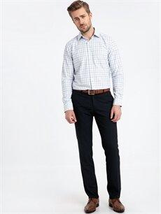 %55 Pamuk %45 Polyester Regular Fit Ekose Uzun Kollu Gömlek
