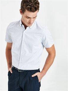 Beyaz Slim Fit Armürlü Kısa Kollu Gömlek 9SO953Z8 LC Waikiki