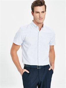 %48 Pamuk %52 Polyester Dar Desenli Kısa Kol Gömlek Düğmeli Slim Fit Armürlü Kısa Kollu Gömlek