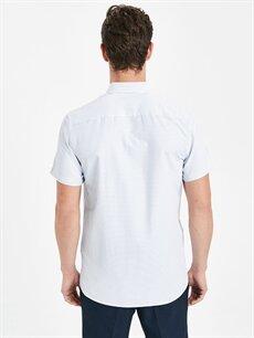 %48 Pamuk %52 Polyester Slim Fit Armürlü Kısa Kollu Gömlek
