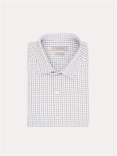 %54 Pamuk %46 Polyester Dar Ekoseli Kısa Kol Gömlek Düğmesiz Slim Fit Ekose Kısa Kollu Poplin Gömlek