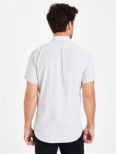 %54 Pamuk %46 Polyester Slim Fit Ekose Kısa Kollu Poplin Gömlek
