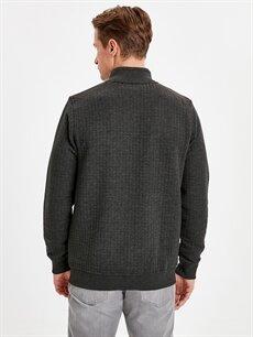 %50 Pamuk %50 Polyester  Fermuarlı Kapitone Sweatshirt