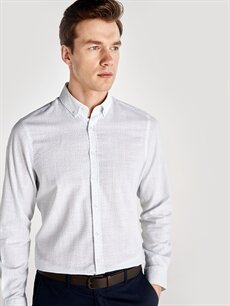 Beyaz Slim Fit Baskılı Uzun Kollu Poplin Gömlek 9SP747Z8 LC Waikiki
