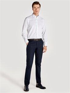 %100 Pamuk Slim Fit Baskılı Uzun Kollu Poplin Gömlek