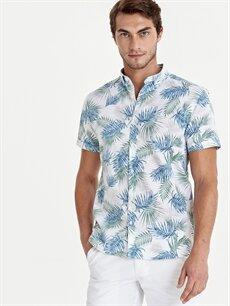 Beyaz Slim Fit Çiçek Baskılı Kısa Kollu Poplin Gömlek 9SP978Z8 LC Waikiki