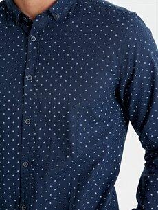 LC Waikiki Lacivert Slim Fit Baskılı Uzun Kollu Poplin Gömlek