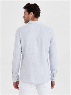 %100 Pamuk Dar Düz Uzun Kol Gömlek Düğmeli Slim Fit Armürlü Uzun Kollu Gömlek