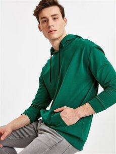 Yeşil Kapüşonlu Sweatshirt 9SQ071Z8 LC Waikiki