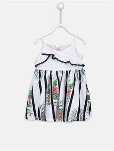 Beyaz Kız Bebek Desenli Pamuklu Elbise 9SQ305Z1 LC Waikiki