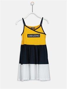 Sarı Kız Çocuk Yazı Baskılı Pamuklu Elbise 9SQ318Z4 LC Waikiki