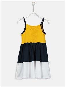 %100 Pamuk Diz Üstü Desenli Kız Çocuk Yazı Baskılı Pamuklu Elbise