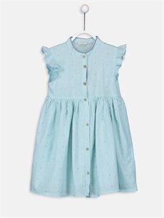 Turkuaz Kız Çocuk Baskılı Poplin Elbise 9SQ588Z4 LC Waikiki