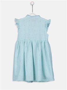 %100 Pamuk %100 Pamuk Diz Üstü Desenli Kız Çocuk Baskılı Poplin Elbise