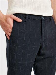 %64 Polyester %2 Elastan %34 Viskon Slim Fit Bilek Boy Ekose Poliviskon Pantolon