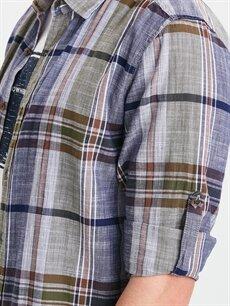 %100 Pamuk Extra Slim Fit Uzun Kollu Ekose Poplin Gömlek