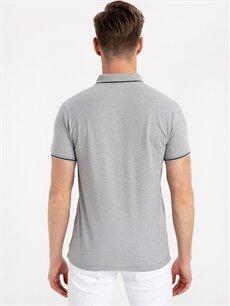 %50 Pamuk %50 Polyester Dar Düz Kısa Kol Tişört Polo Slim Fit Polo Yaka Tişört