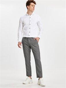 Gri Slim Fit Bilek Boy Ekose Poliviskon Pantolon 9SR545Z8 LC Waikiki