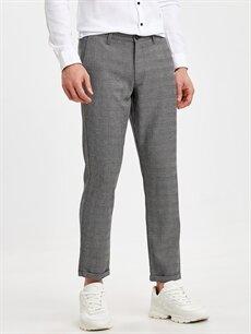 %64 Polyester %2 Elastan %34 Viskon Dar Normal Bel Pilesiz Pantolon Slim Fit Bilek Boy Ekose Poliviskon Pantolon