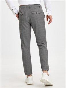 Erkek Slim Fit Bilek Boy Ekose Poliviskon Pantolon