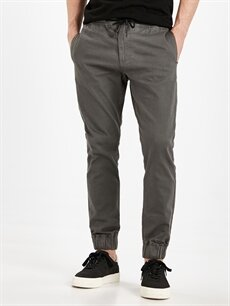 %98 Pamuk %2 Elastan Dar Pantolon Slim Fit Jogger Pantolon