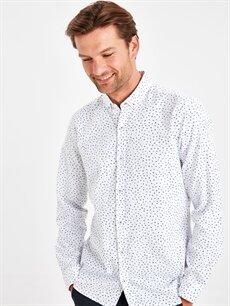 Beyaz Slim Fit Çiçek Desenli Oxford Gömlek 9SS404Z8 LC Waikiki