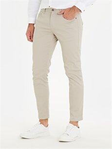 %98 Pamuk %2 Elastan Dar Pantolon Normal Bel Pilesiz Skinny Fit Bilek Boy Pantolon