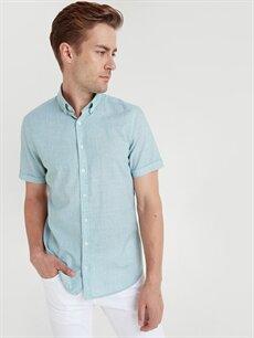 Yeşil Slim Fit Kısa Kollu Poplin Gömlek 9SS866Z8 LC Waikiki