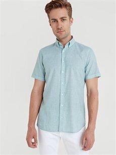 %100 Pamuk Dar Düz Kısa Kol Gömlek Düğmeli Slim Fit Kısa Kollu Poplin Gömlek
