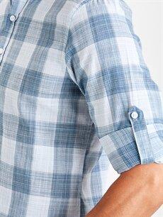 %100 Pamuk Slim Fit Ekose Uzun Kollu Poplin Gömlek