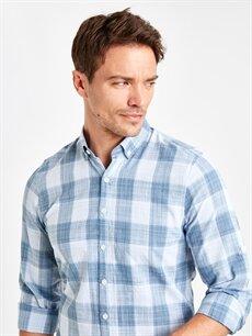 LC Waikiki Mavi Slim Fit Ekose Uzun Kollu Poplin Gömlek