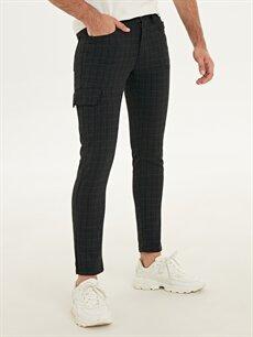 %63 Polyester %2 Elastan %35 Viskoz Normal Bel Dar Pilesiz Pantolon Slim Fit Ekose Gabardin Pantolon