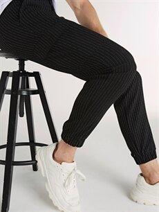 %65 Polyester %3 Elastan %32 Viskon Slim Fit Çizgili Poliviskon Jogger Pantolon