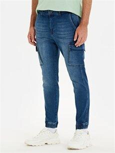 %99 Pamuk %1 Elastan Normal Bel Normal Jean Regular Fit Kargo Cepli Jogger Jean Pantolon