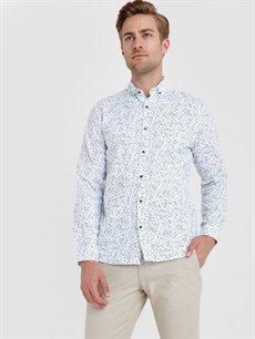 Beyaz Slim Fit Baskılı Uzun Kollu Poplin Gömlek 9ST785Z8 LC Waikiki
