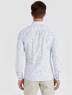 %100 Pamuk Dar Desenli Uzun Kol Gömlek Düğmeli Slim Fit Baskılı Uzun Kollu Poplin Gömlek