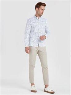 Erkek Slim Fit Baskılı Uzun Kollu Poplin Gömlek