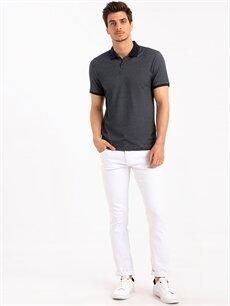Erkek Slim Fit Polo Yaka Kısa Kollu Jakarlı Tişört