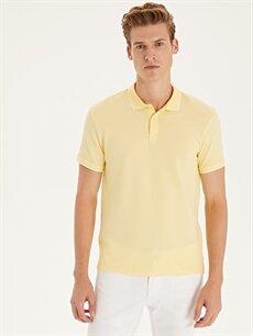 Sarı Slim Fit Polo Yaka Kısa Kollu Jakarlı Tişört 9ST835Z8 LC Waikiki