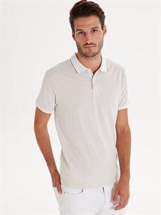 Beyaz Slim Fit Polo Yaka Kısa Kollu Jakarlı Tişört 9ST835Z8 LC Waikiki