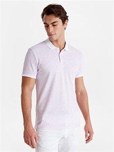 Dar Baskılı Kısa Kol Tişört Polo Slim Fit Polo Yaka Baskılı Kısa Kollu Pike Tişört