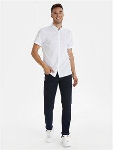Beyaz Slim Fit Desenli Kısa Kollu Armürlü Gömlek 9ST953Z8 LC Waikiki