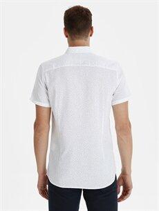 %100 Pamuk Dar Desenli Kısa Kol Gömlek Düğmeli Slim Fit Desenli Kısa Kollu Armürlü Gömlek