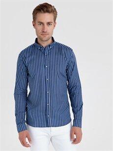 Mavi Slim Fit Çizgili Uzun Kollu Poplin Gömlek 9SU149Z8 LC Waikiki