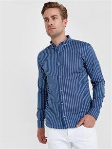 %100 Pamuk Dar Çizgili Uzun Kol Gömlek Düğmeli Slim Fit Çizgili Uzun Kollu Poplin Gömlek