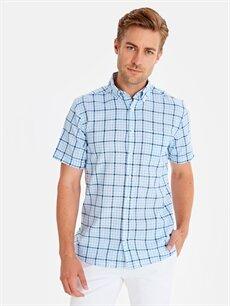 %100 Pamuk Normal Kısa Kol Ekoseli Gömlek Düğmeli Regular Fit Pamuklu Ekose Desenli Gömlek