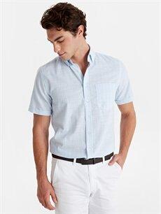 %100 Pamuk Normal Kısa Kol Çizgili Gömlek Düğmeli Regular Fit Çizgili Kısa Kollu Poplin Gömlek